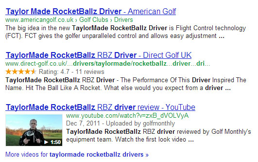 Google Rich Snippet Listing For Taylormade Golf Clubs