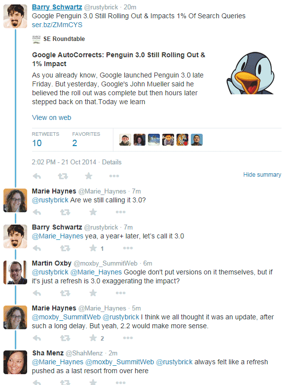 Screenshot taken from twitter conversation about Penguin 3.0 between many search influencers and webmasters