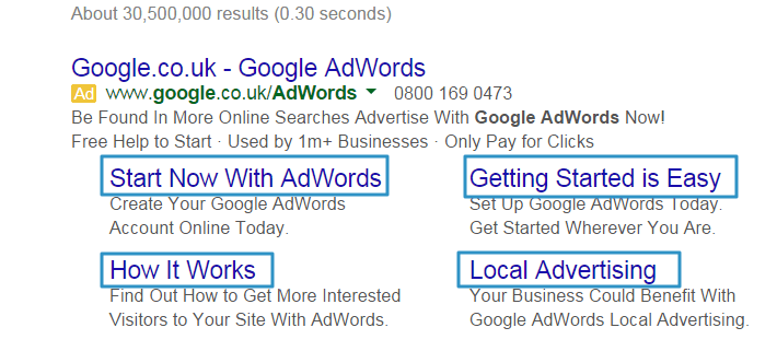 Google Adwords Sitelink extensions