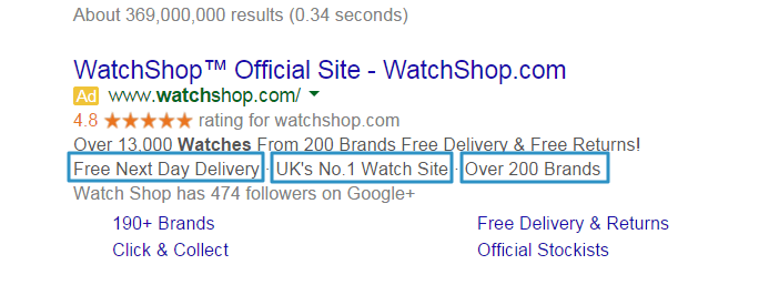 Google Adwords Callout Extension