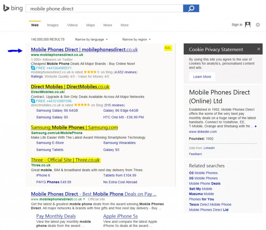 BING PPC on branded terms