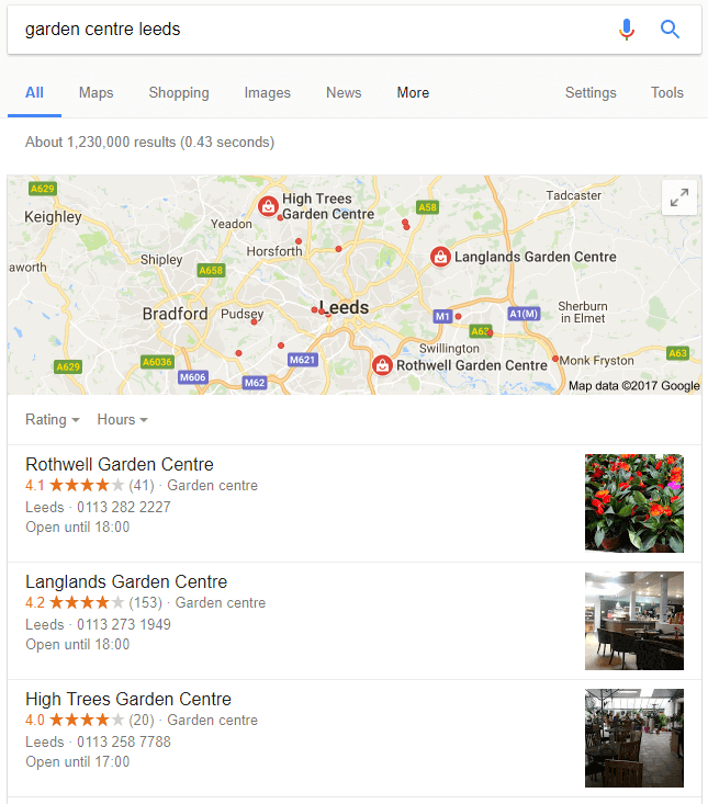 Example of local SEO listing UK