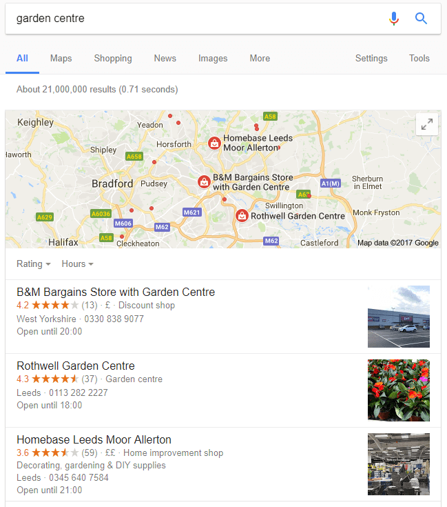 local SEO listings example uk