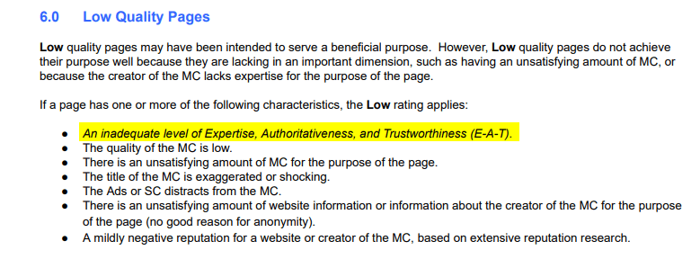 Section 6.0 of Google's content quality guidelines