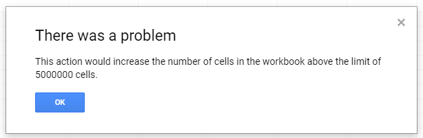 Google Sheets Above Limit Error Image
