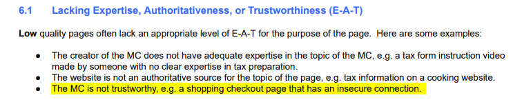 Section 6.1 of Google's content quality guidelines