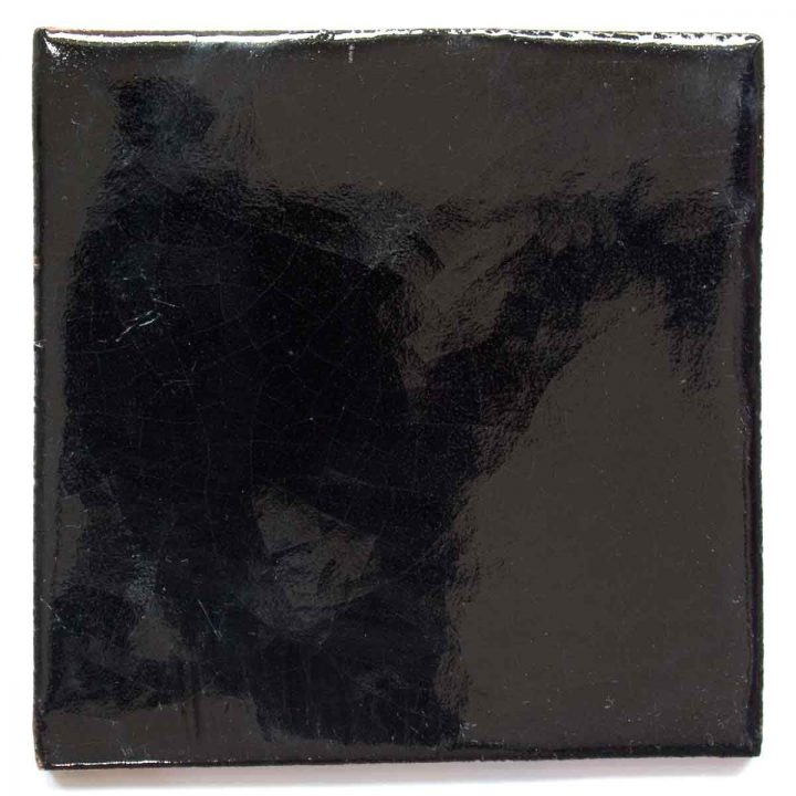 black hand made wall tiles