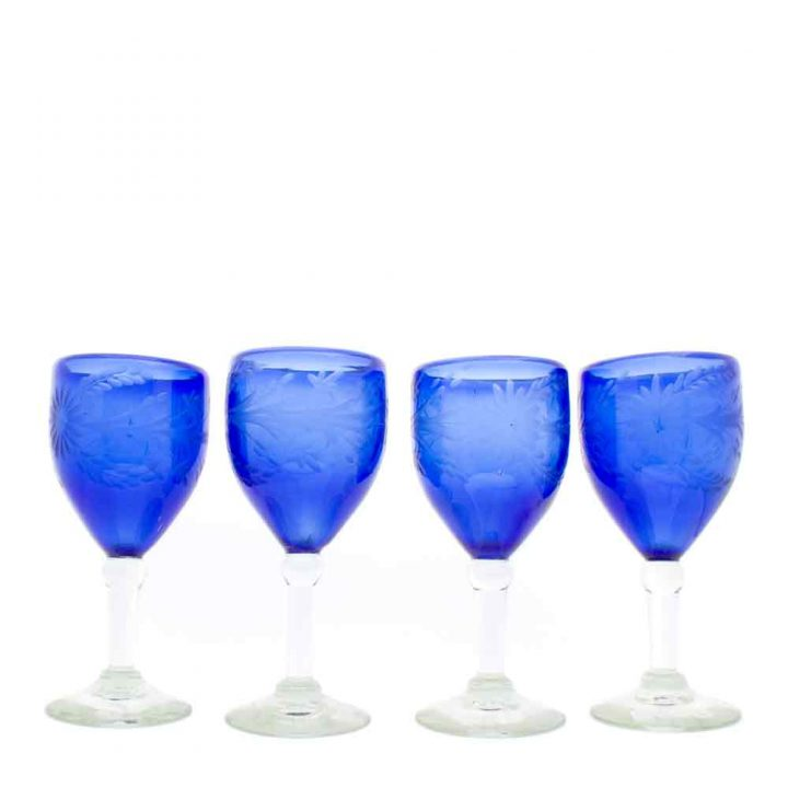 blue, engraved, hand made, recycled wine glass from Mexico