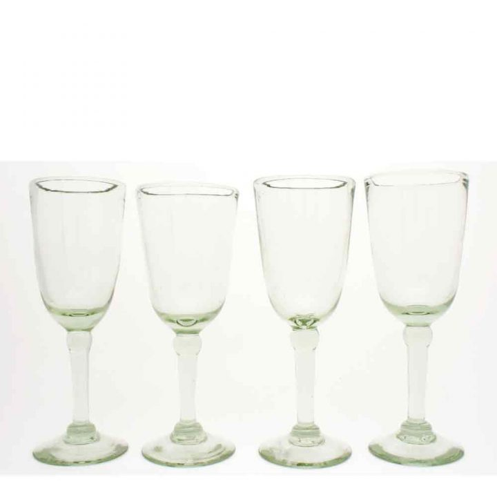 clear, hand made, recycled glass wine glasses