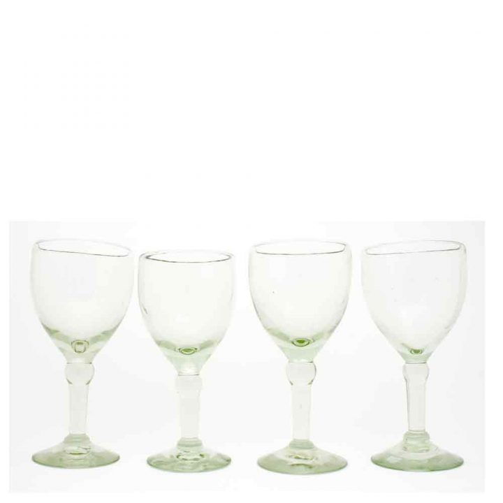 clear wine glasses made from recycled glass