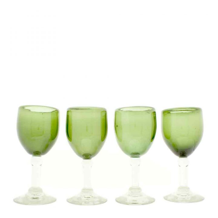 olive wine glass hand made in mexico