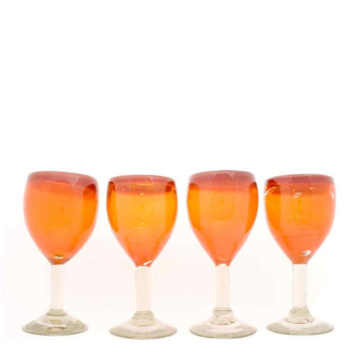 orange and red wine glass hand made in Mexico