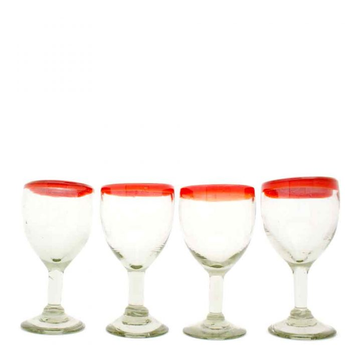 clear with a red rim recycled wine glasses