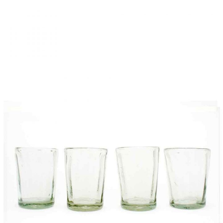 ribbed, flared, clear, hand made, recycled, wahaca, Mexican glassware