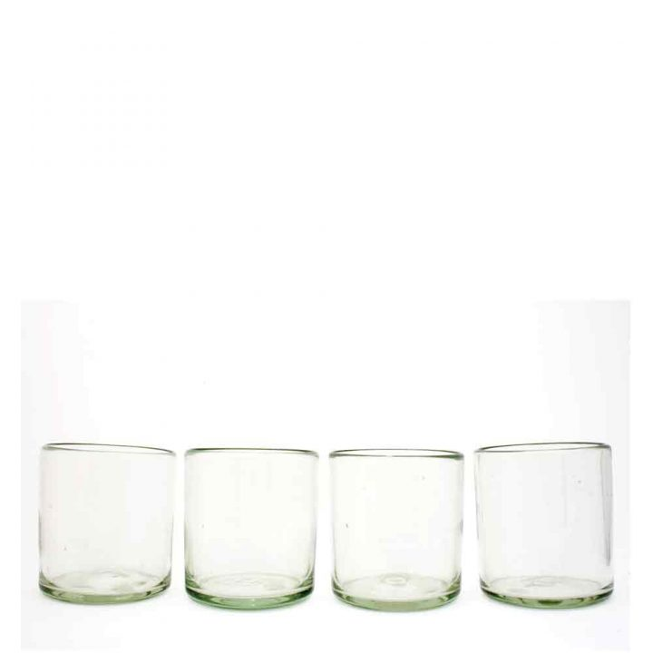 clear, roca tumblers hand made in Mexico