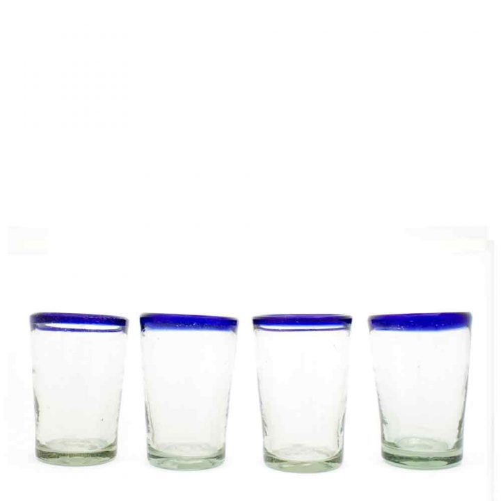 clear with a blue rim hand made flared tumbler