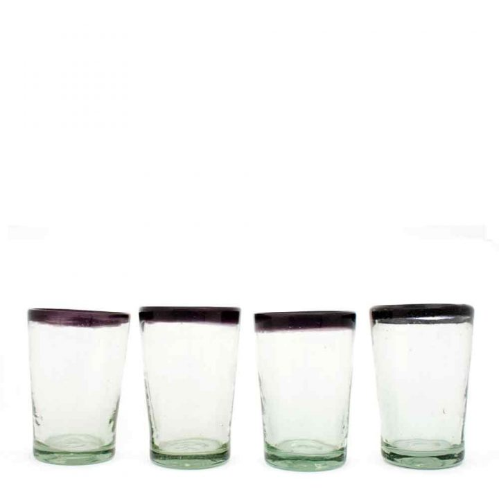 clear with a purple rim tumbler hand made in mexico from recycled glass