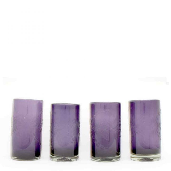Engraved, highball, recycled, glass tumblers