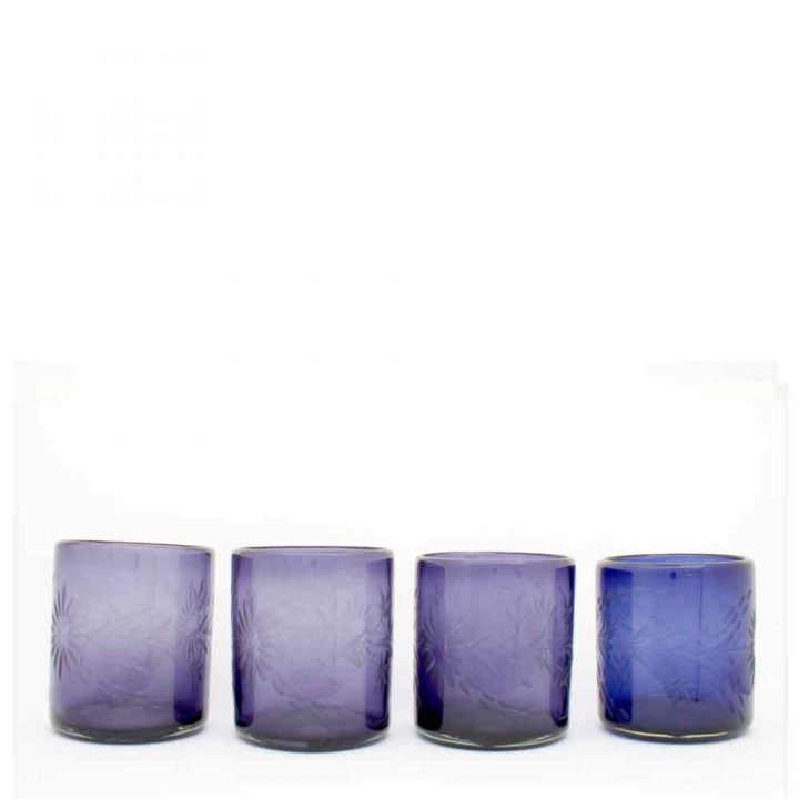 engraved, roca, hand made recycled glassware