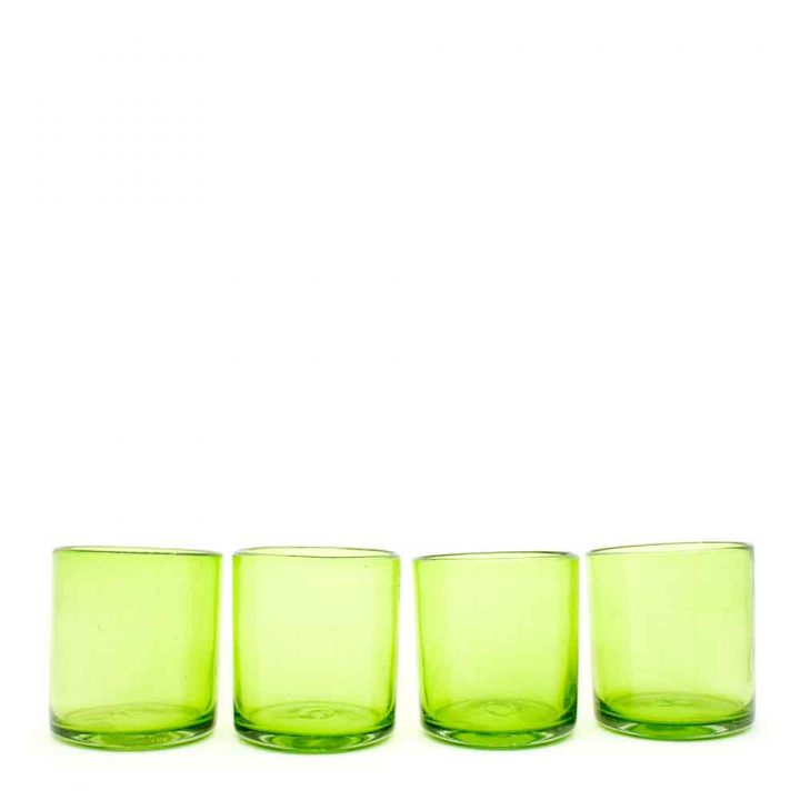 lime green roca tumblers handmade in mexico