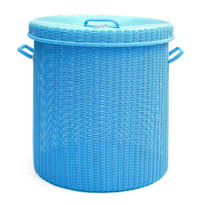 sky blue round storage laundry baskets