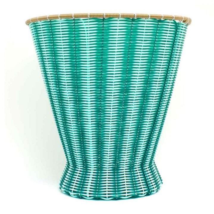 green paper basket