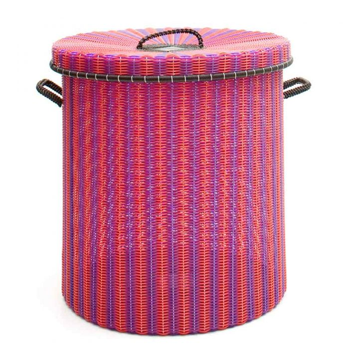 purple and red storage, laundry baskets