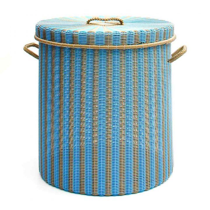 sky blue and gold storage, laundry basket