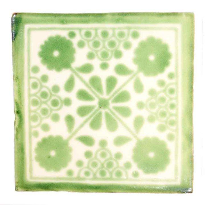 damask green hand made tiles.