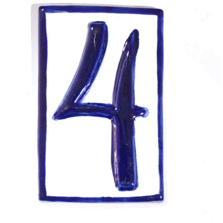 Number four hand made house numbers wall tiles