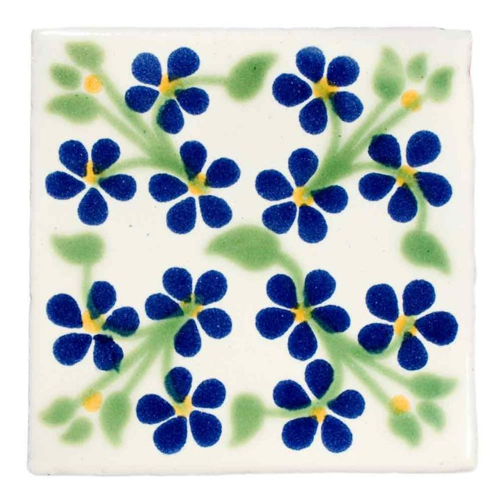violets blue and green hand made tiles.