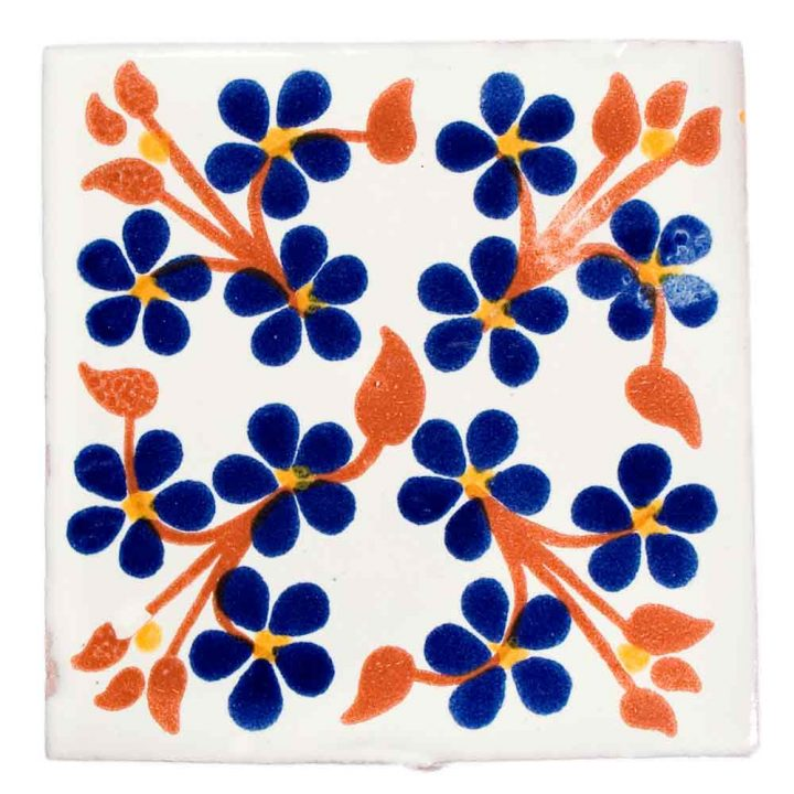 violets blue and terracotta hand made wall tiles.