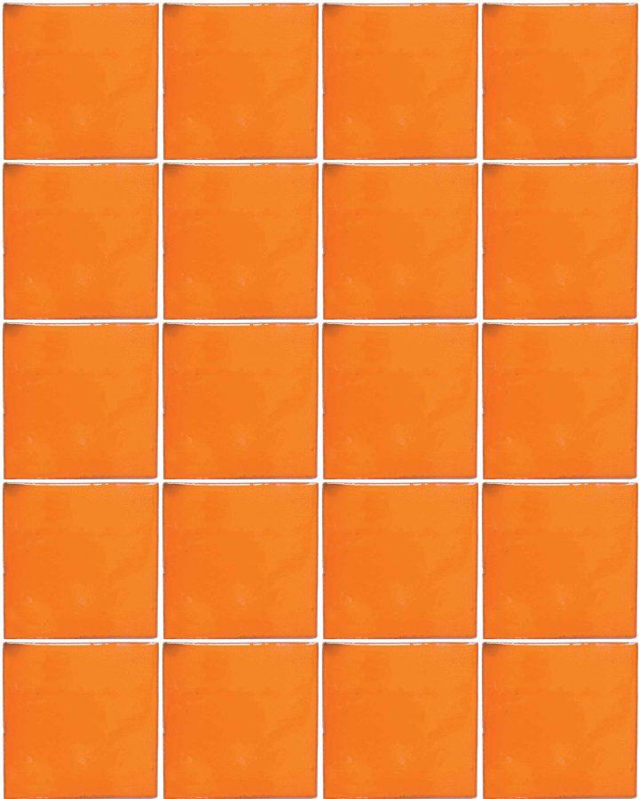 intense orange hand made tiles