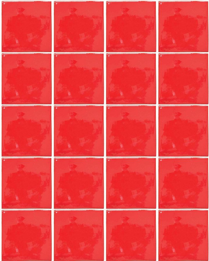 intense red hand made tiles.