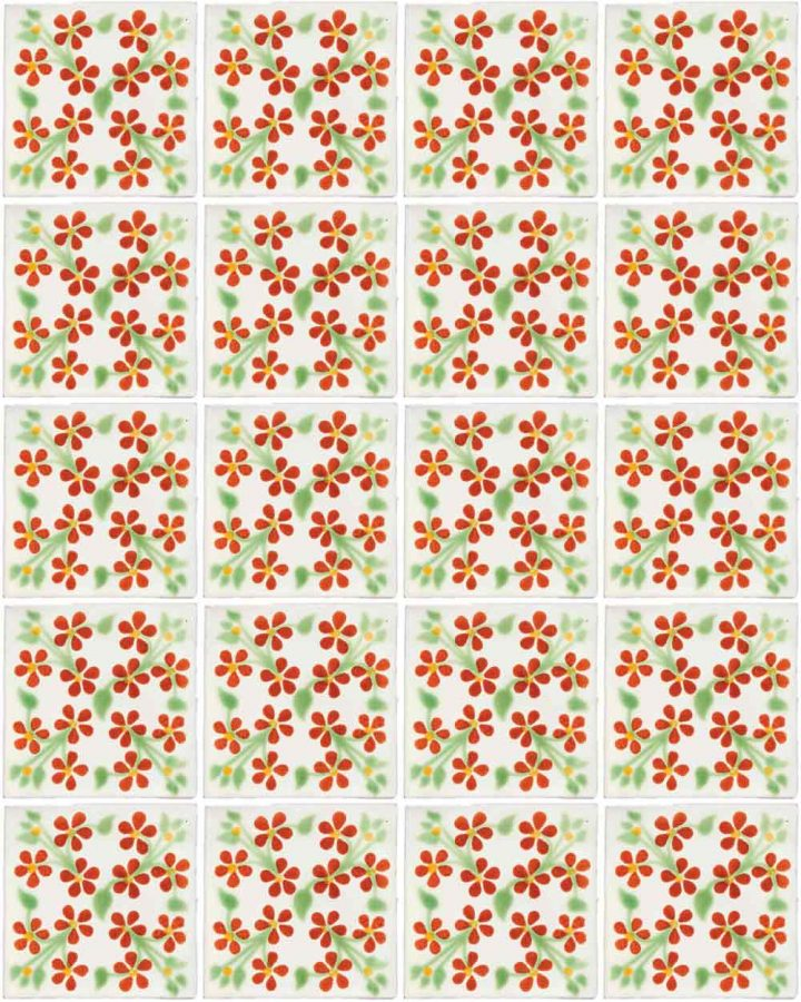 violets red and green hand made wall tiles.