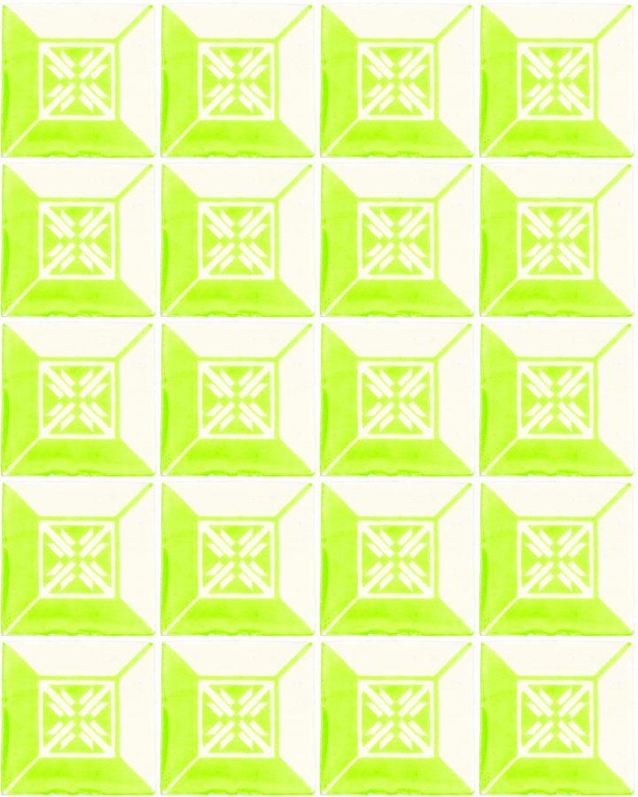 wahaca lime green hand made wall tiles