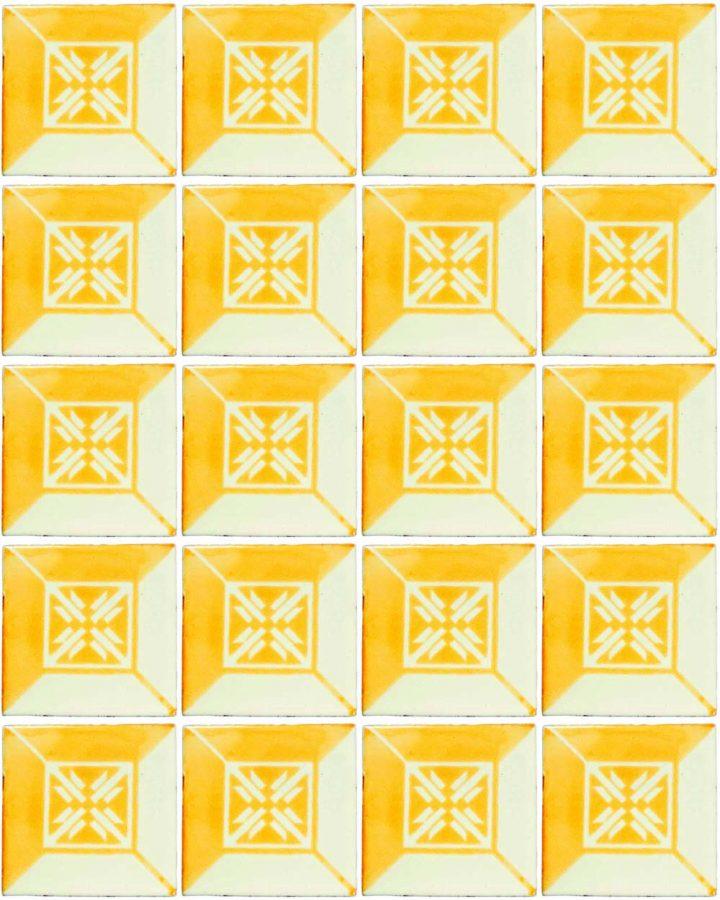 wahaca mustard yellow hand made tiles.