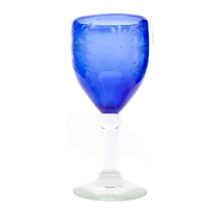 blue engraved hand made recycled wineglass from Mexico