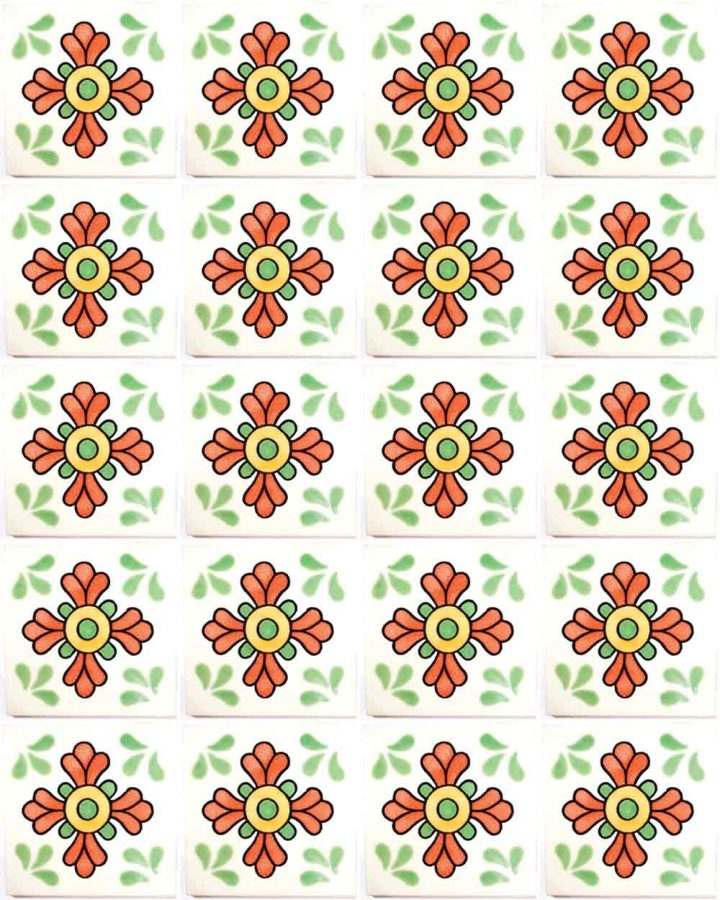 seville green and terracotta hand made wall tiles.