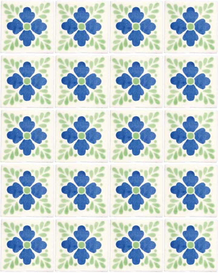 Lester blue and green hand made wall tiles