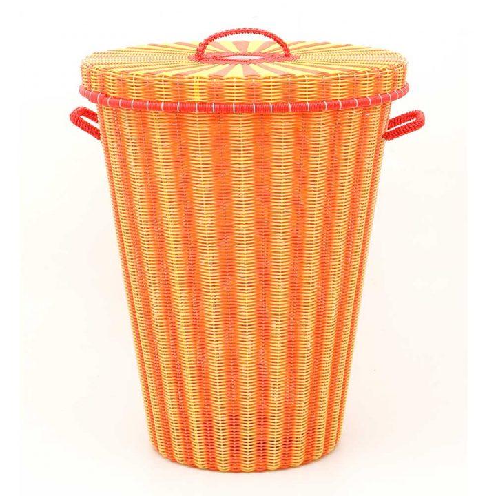 orange and yellow flared laundry basket