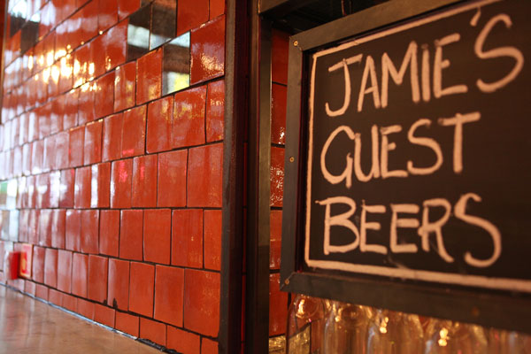mexican orange tiles in jamie's italian restaurant