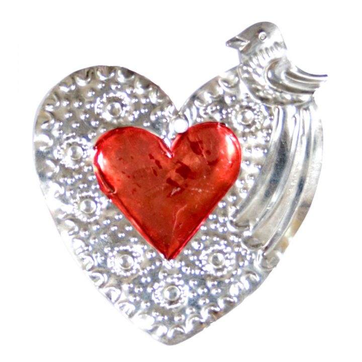 Red tin hearts from Mexico