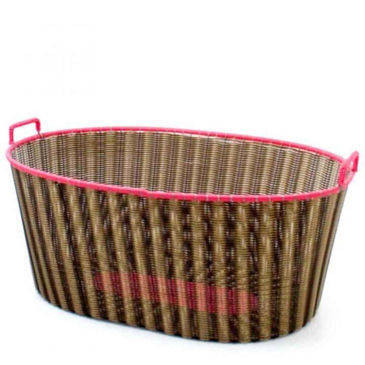 chocolate and gold ironing basket