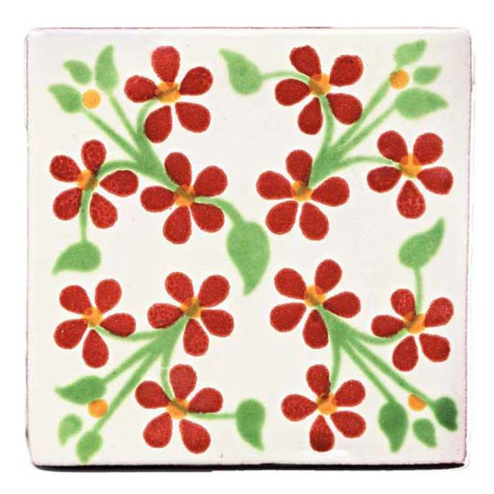 Violets red and green hand made tiles