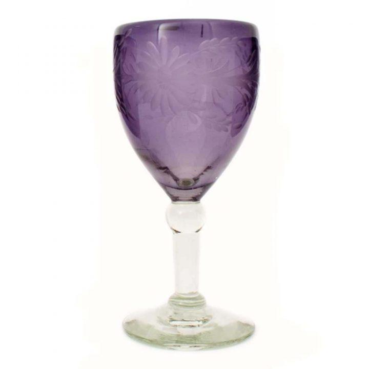 wine glass grape engraved
