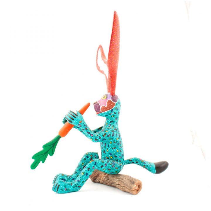 Mexican rabbit folk art wood carving