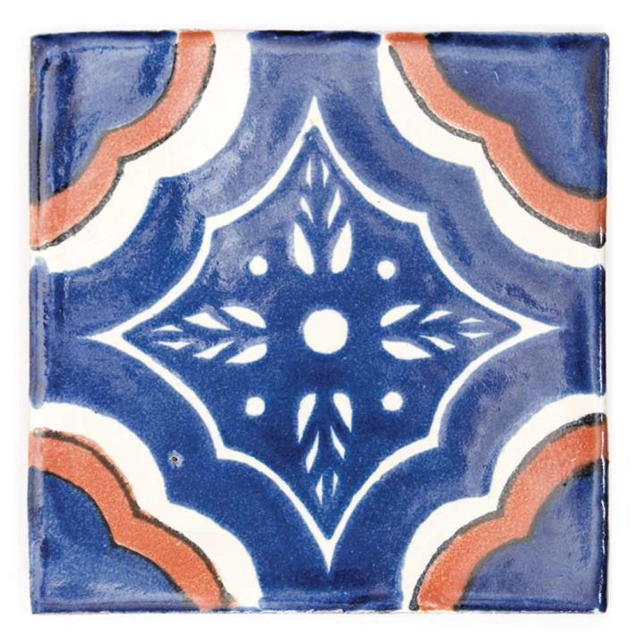 palacio blue and terracotta hand made mexican tiles