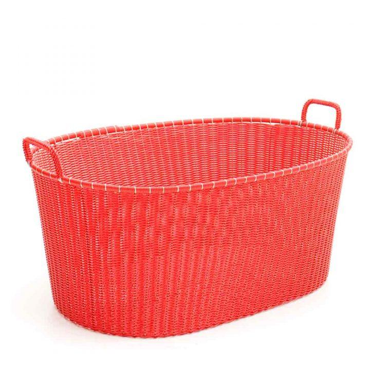 red ironing basket