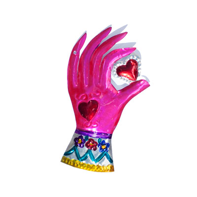 tin pink hand with heart